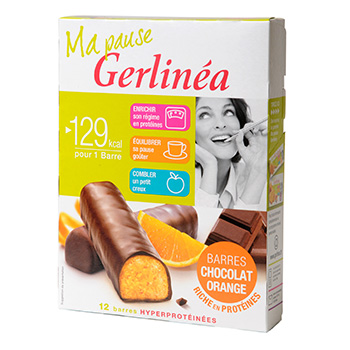 Barres régime Gerlinéa chocolat Orange hyperprotéinées ...